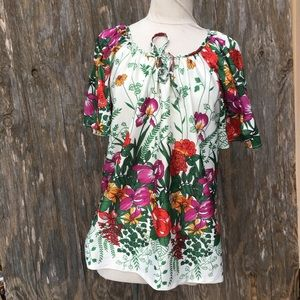 Tops - Vintage tropical floral tunic top large